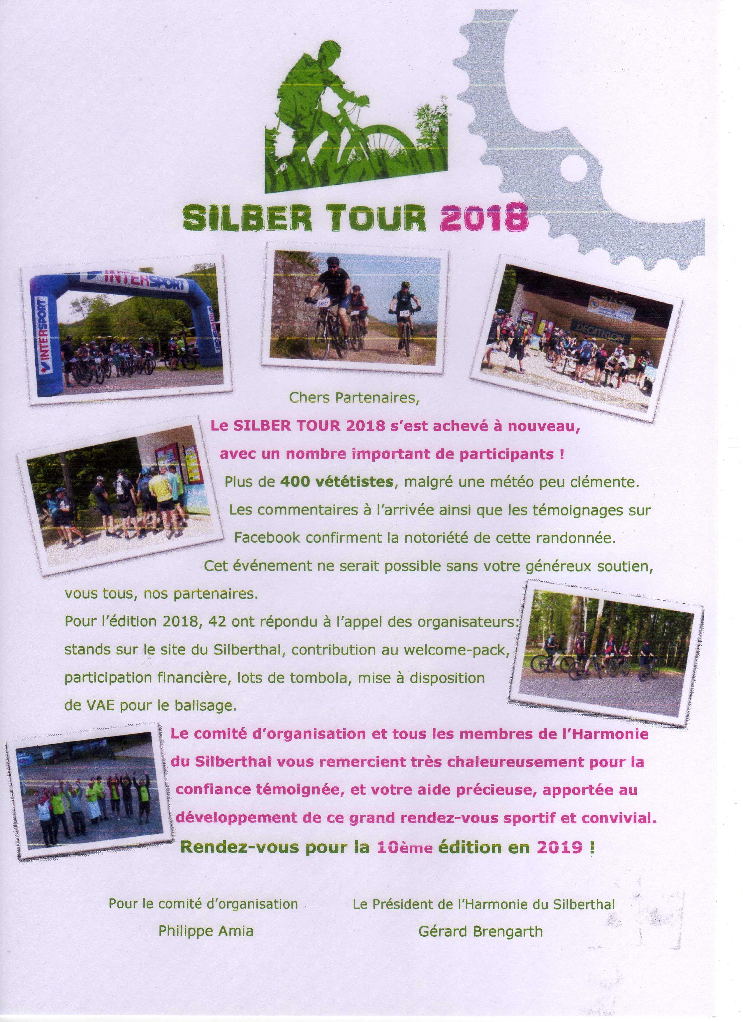 Remerciements aux partenaires de SILBER TOUR